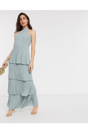 TFNC High neck tiered midaxi bridesmaid dress in sage