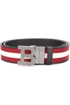 Bally Striped logo-buckle belt