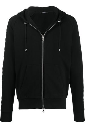 Balmain Embossed logo-panel zipped hoodie