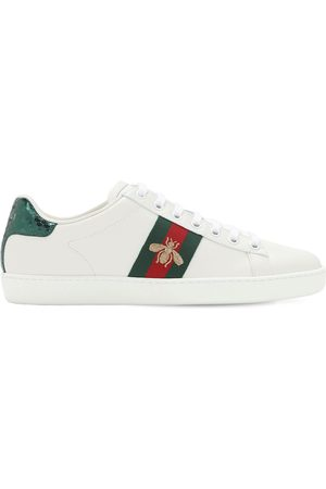 Gucci New Ace Embroidered Bee Leather Sneakers