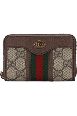 Gucci Gg Canvas & Leather Zip Card Holder