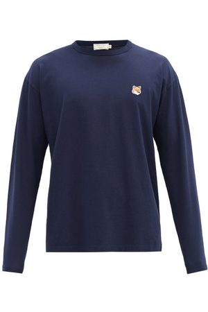 Maison Kitsuné Men Long Sleeve - Fox Head-patch Cotton-jersey T-shirt - Mens - Navy
