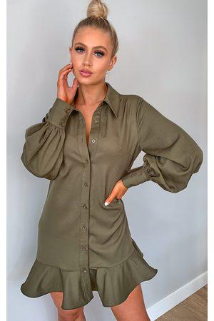 PRETTYLITTLETHING Khaki Frill Hem Shirt Dress