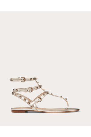 VALENTINO GARAVANI Rockstud Metallic Flat Flip-flop Sandal Women Skin Lambskin 100% 38