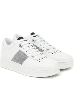 Jimmy Choo Hawaii/F glitter-trimmed leather sneakers