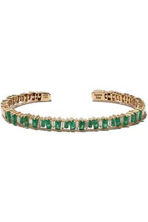 Suzanne Kalan 18kt emerald and diamond cuff