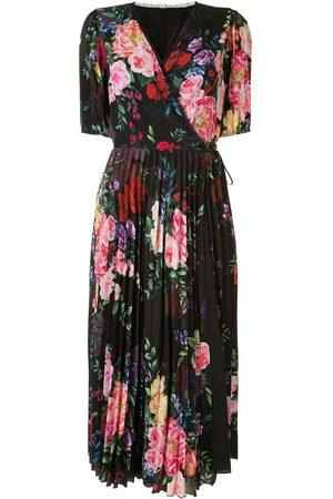 Marchesa Notte Floral print wrap dress