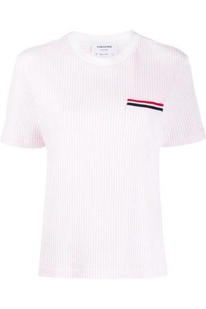 Thom Browne Striped pocket seersucker T-shirt