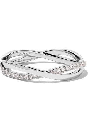 De Beers 18kt Infinity half pave diamond band