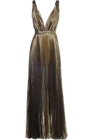 YOLANCRIS V Neck Pleated Silk Blend Long Dress