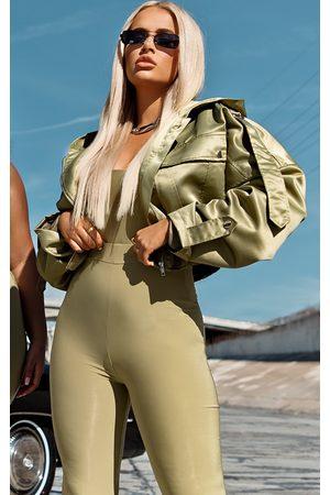 PRETTYLITTLETHING Women Bomber Jackets - Sage Satin Oversized Hooded Pocket Bomber Jacket