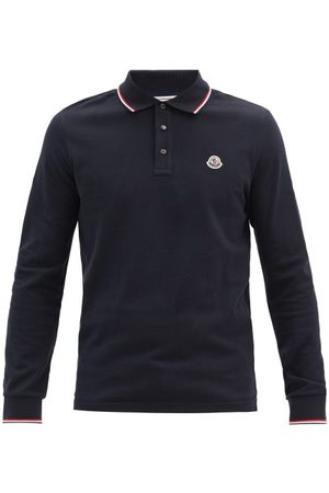 Moncler Logo-patch Cotton-piqué Long-sleeve Polo Shirt - Mens - Navy