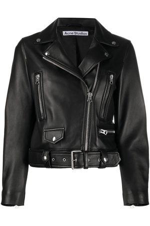Acne Studios Women Leather Jackets - Leather biker jacket