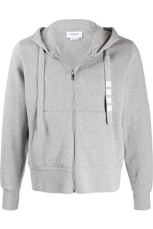 Thom Browne 4-Bar twill drawstring zip hoodie - Grey