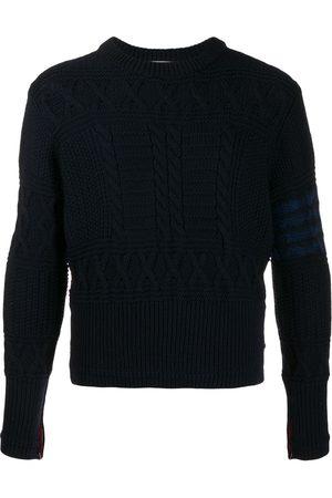 Thom Browne Men Sweatshirts - Aran cable tonal 4-Bar jumper