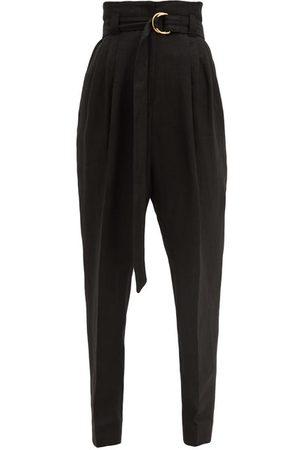 Another Tomorrow Women Formal Pants - Paperbag-waist Organic-linen Blend Trousers - Womens