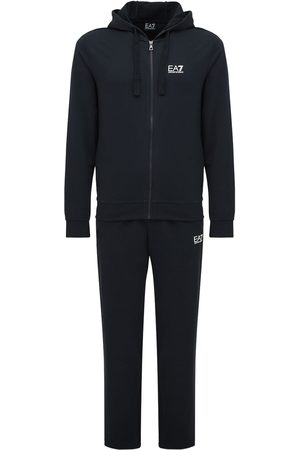 EA7 Logo Printed Cotton Tracksuit