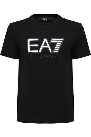 EA7 Logo Printed Cotton Jersey T-shirt
