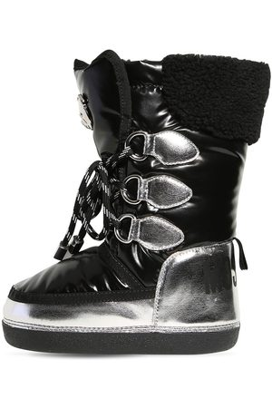 Moschino Metallic & Patent Nylon Snow Boots