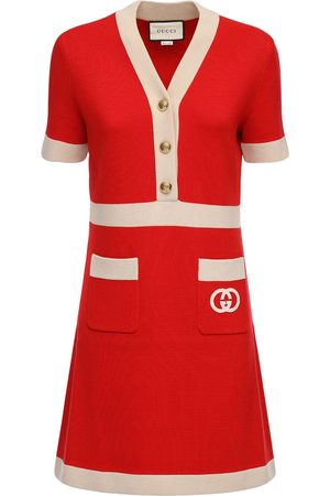 GUCCI Short Sleeve Wool Knit Mini Dress