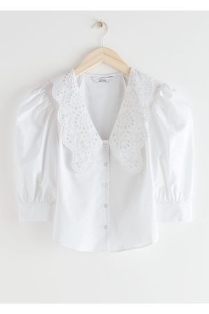 & OTHER STORIES Embroidered Collar Puff Sleeve Shirt