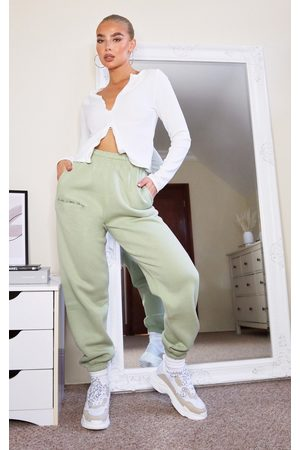 PRETTYLITTLETHING Sage Embroidered Joggers