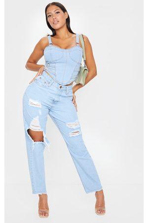 PRETTYLITTLETHING Shape Light Wash Extreme Distressed Boyfriend Jeans