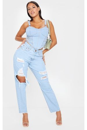 PRETTYLITTLETHING Women Boyfriend Jeans - Shape Light Wash Extreme Distressed Boyfriend Jeans