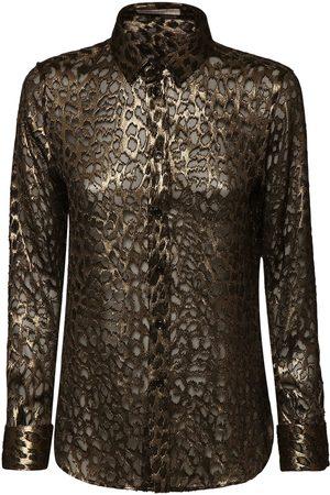Saint Laurent Leopard Print Sheer Silk & Viscoseshirt