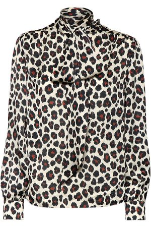 Saint Laurent Printsilk Satin Shirt W/ Bow