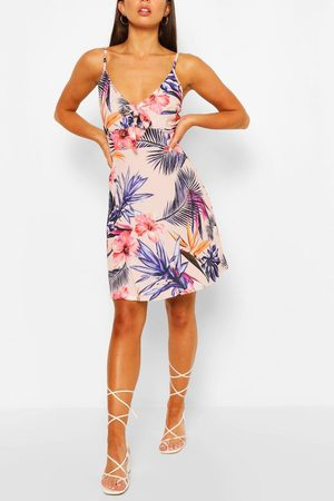 Boohoo Womens Floral Print Strappy Bow Detail Sundress - - 4