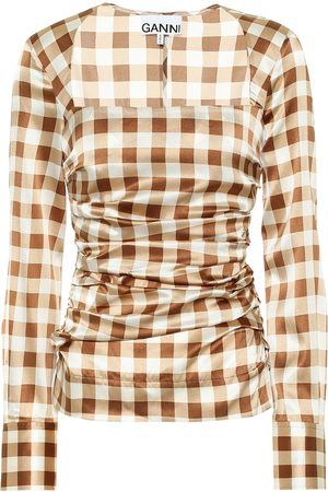 Ganni Checked stretch-silk satin shirt