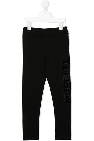 Moncler Girls Leggings - Embroidered logo leggings