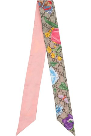 Gucci Flora Printed Silk Neck Scarf
