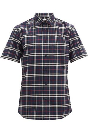 Burberry Men Casual - Simpson Checked Cotton-blend Poplin Shirt - Mens - Navy Multi