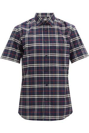 Burberry Simpson Checked Cotton-blend Poplin Shirt - Mens - Navy Multi