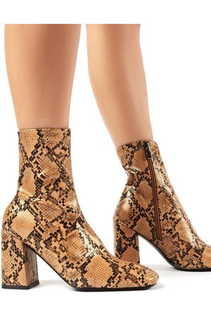 Public Desire USA Addict Snakeskin Sock Fit Block Heeled Ankle Boots - US 5