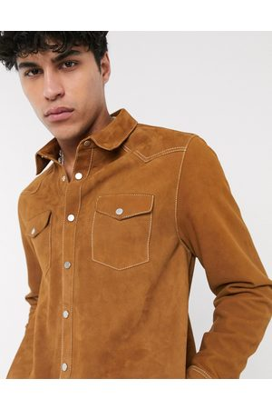 ASOS Leather western overshirt in tan with contrast stitch