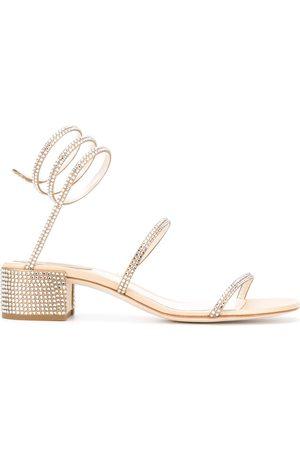 RENÉ CAOVILLA Studded rhinestone sandals - Neutrals