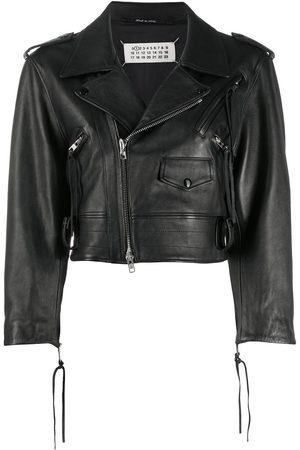 Maison Margiela Cropped leather biker jacket