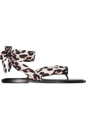 Ganni Leopard print wrap sandals