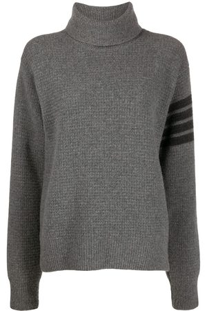 Thom Browne Tonal 4-Bar roll neck jumper - Grey