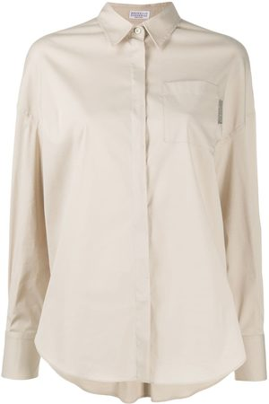Brunello Cucinelli Embellished tab long sleeve shirt - Neutrals