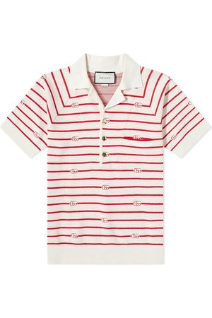 Gucci Men Polo Shirts - GG Stripe Knitted Polo