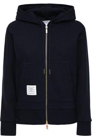 Thom Browne Zip-up Cotton Jersey Sweatshirt Hoodie