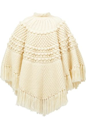 Saint Laurent Fringed Bobble-knit Poncho - Womens - Ivory