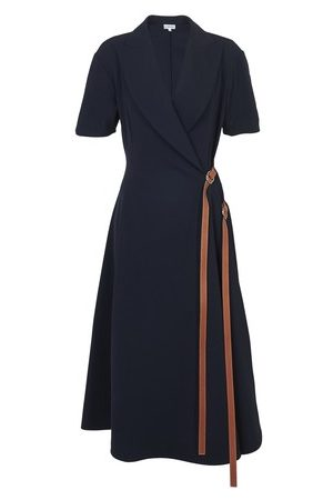 Loewe Women Midi Dresses - Wrap dress leather strap