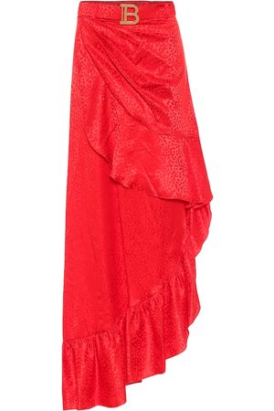 Balmain Women Maxi Skirts - Leopard-jacquard silk maxi skirt