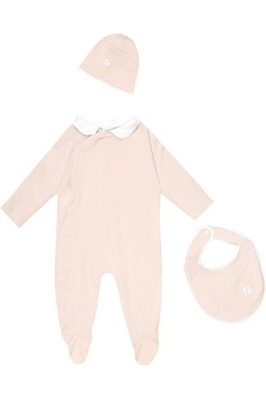 Fendi Cotton onesie, hat and bib set