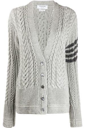Thom Browne 4-Bar Aran cable knit cardigan - Grey